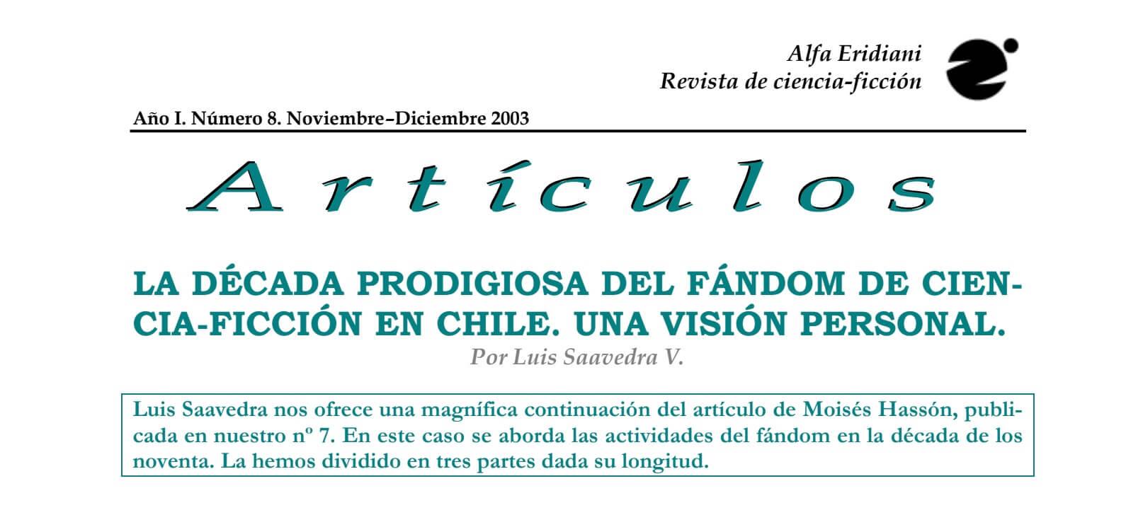 La década prodigiosa del fandom de ciencia ficción en Chile